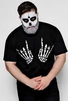 boohoo Big And Tall Halloween Skeleton Hand T-Shirt