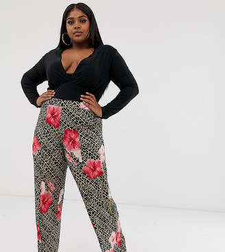 Pink Clove tailored pants with split front in tropical animal print
