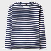 Paul Smith Men's Blue And White Breton-Stripe Long-Sleeve T-Shirt