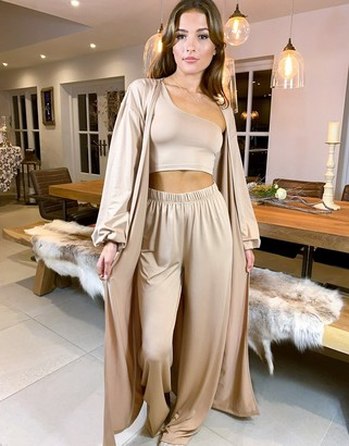 ASOS LUXE Lounge slinky puff sleeve maxi gown in beige