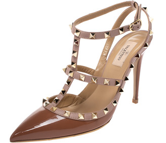 Valentino Brown Patent Leather Rockstud Pointed Toe Sandals Size 40.5