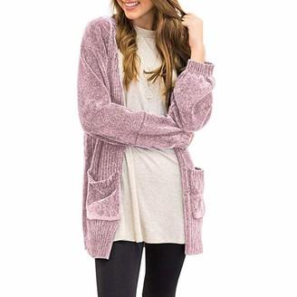 AOGOTO Women Soft Velvet Chenille Cardigans Pockets Long Sleeve Sweater Open Front Coat Green