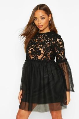 boohoo Lace Top Mesh Smock Dress