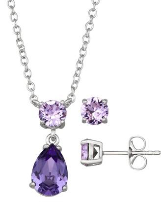Brilliance+ Brilliance Teardrop Pendant Necklace & Stud Earring Set with Swarovski Crystal