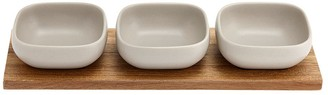 Ladelle Essentials Porcelain 4 Piece Bowl Set Stone Grey