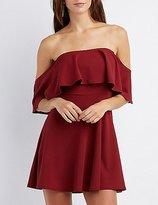 Charlotte Russe Ruffle Off-The-Shoulder Skater Dress