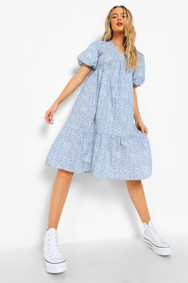 boohoo Ditsy Floral Open Back Puff Sleeve Midi Dress