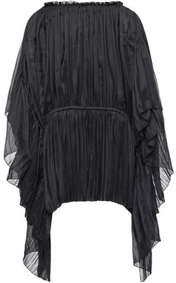 Alberta Ferretti Draped Pleated Voile Blouse