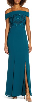 Chi Chi London Fenella Off the Shoulder Trumpet Gown