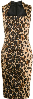 Thierry Mugler Leopard Print Fitted Midi Dress