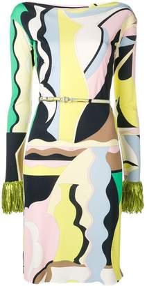 Emilio Pucci Vallauris Print Fringed Dress