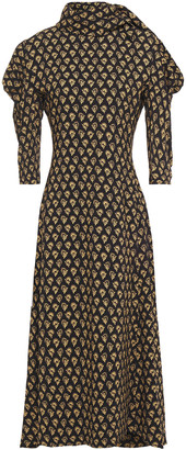 Proenza Schouler Tie-neck Gathered Floral-print Crepe Midi Dress