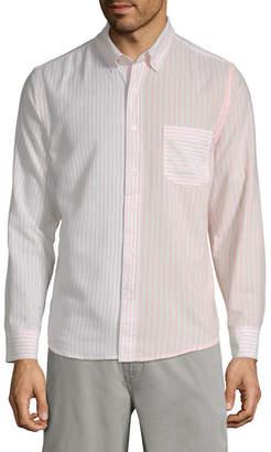 ST. JOHN'S BAY No Tuck Mens Long Sleeve Striped Button-Front Shirt