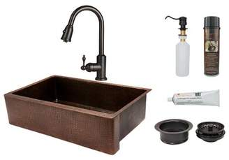 "Premier Copper Products Hammered 35"" L x 22"" W Apron Kitchen Sink with Faucet Premier Copper Products"