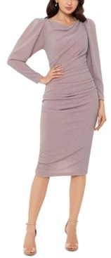 Betsy & Adam Metallic Puff-Sleeve Sheath Dress