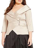Alex Evenings Plus Portrait Collar 3/4 Sleeve Blouse