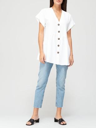 Very Short Sleeve Longline Button Through Tunic - White
