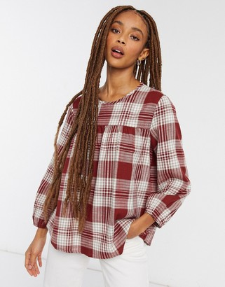 JDY smock top in red check
