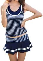 LAPAYA Junior's Tankini Swimsuit Striped Skirted Vintage Two Piece Bathing Suits