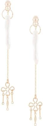 Petite Grand Daisy drop long pearl earrings