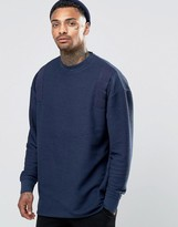 Asos Oversized Longline Sweatshirt In Reverse Loopback With Taping