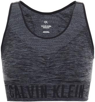 Calvin Klein Performance Monogram-trimmed Cutout Melange Stretch Sports Bra