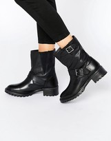 Pieces Psuda Leather Biker Boots