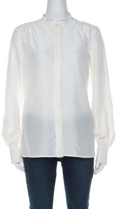Boss By Hugo Boss Cream Silk Button Front Long Sleeve Shirt S