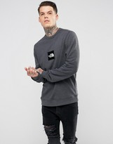 The North Face Fine Crew Neck Sweatshirt Box Logo In Dark Grey Marl