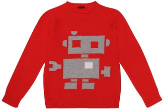 Il Gufo Robot-intarsia virgin wool sweater