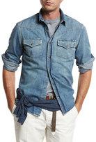 Brunello Cucinelli Western-Style Button-Down Denim Shirt, Powder Blue