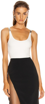 David Koma Buckle Detail Tank Bodysuit in White | FWRD