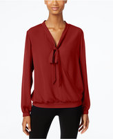 NY Collection Tie-Neck Faux-Wrap Top