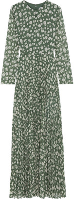 Mikael Aghal Pleated Floral-print Crepe De Chine Maxi Dress