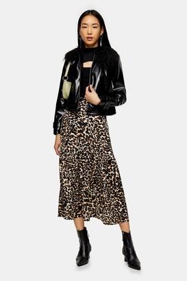 Topshop Womens Leopard Print Tiered Button Midi Skirt - True Leopard