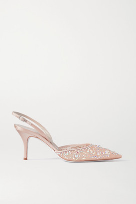 Rene Caovilla Veneziana Crystal-embellished Satin And Mesh Slingback Pumps - Neutral