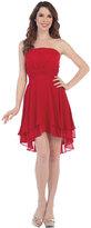 Unique Vintage Red Strapless Chiffon High Low Dress