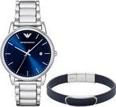 Emporio Armani Men's Luigi Stainless Steel Bracelet Watch and Leather Bracelet Gift Set 43mm AR8033