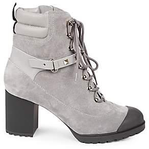 Valentino Women's Garavani Rockstud Suede Stacked-Heel Combat Boots