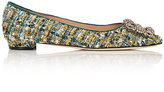 Manolo Blahnik Women's Hangisi Tweed Flats-GREEN, BLUE