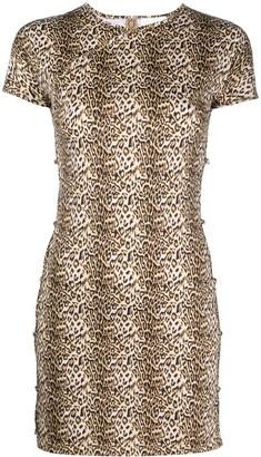 MARCIA Leopard-Print Open-Side Mini Dress