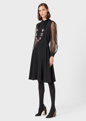 Giorgio Armani Silk Dress With Tulle Sleeves