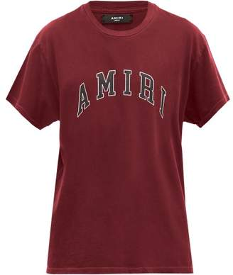 Amiri Logo-print Cotton T-shirt - Mens - Burgundy