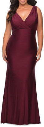 La Femme Plus Size V-Neck Sleeveless Jersey Gown