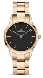 Daniel Wellington Black Dial Rose Gold-Tone Link Bracelet Watch, 28mm-32mm