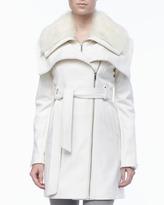 BCBGMAXAZRIA Wool Fur-Collar Collar Coat