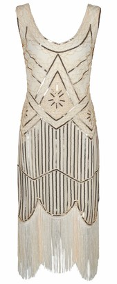 Ro Rox Great Gatsby 1920's Cocktail Party Sequin Tassel Flapper Dress - Champagne (UK 14)