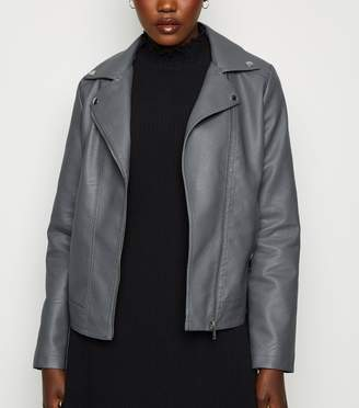 New Look Coated Leather-Look Biker Jacket