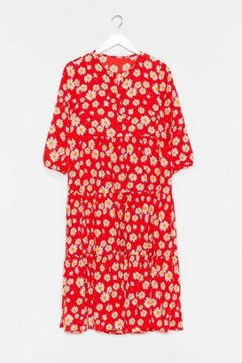 Nasty Gal Womens Floral Print Midaxi Smock Dress - Red