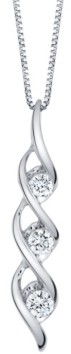 Sirena Diamond (1/4 ct. t.w.) Modern Three Stone Pendant in 14k White Gold